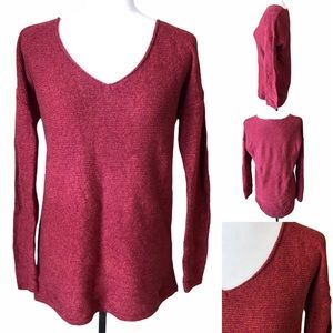 Red Cotton V-Neck Long Sleeved Sweater